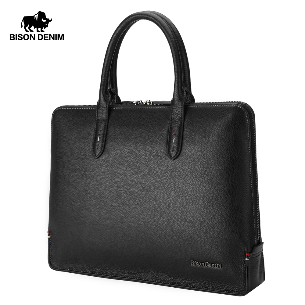 Hell Bison Denim Echtem Leder Aktentaschen 14 laptop Handtasche Herren Business Umhängetasche Messenger/schulter Taschen Für Männer N2761-3 Aktentaschen