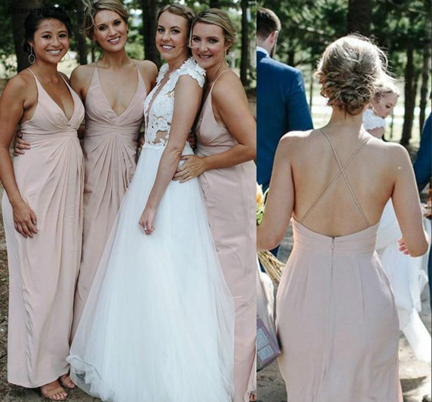 A Line   Bridesmaid     Dress   Cheap Pale Pink Western Summer Country Garden Formal Wedding Party Guest Maid of Honor Gown Plus Size