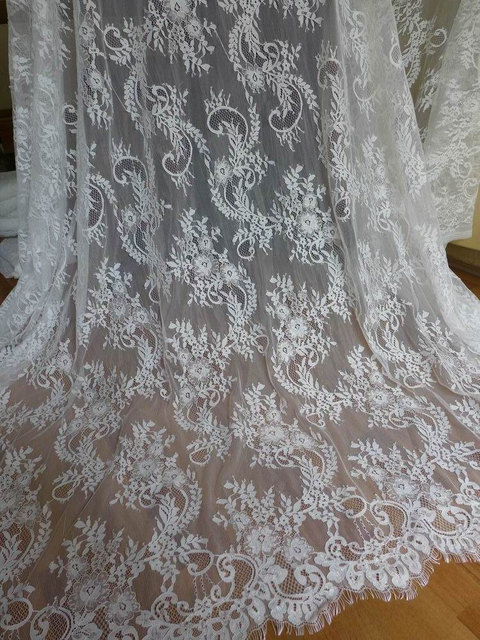 Elegant Eyelash Fabric Unique White Wedding Dress Lace Fabric For Bridal, Mantilla  , French Chantilly Net Pictures