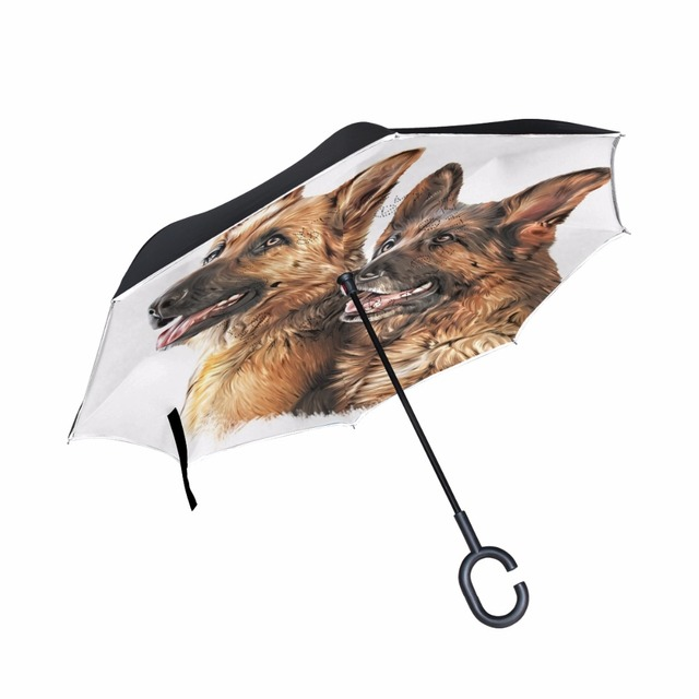 Drawing Dog German Shepherd Folding Reverse Umbrella Double Layer - German-shepherd-drawings
