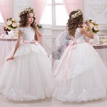 Princess Ball Gown White Lace Flower Girls Dress For Weddings Cheap 2016 Tulle Belt Bow First Communion Dress FD251