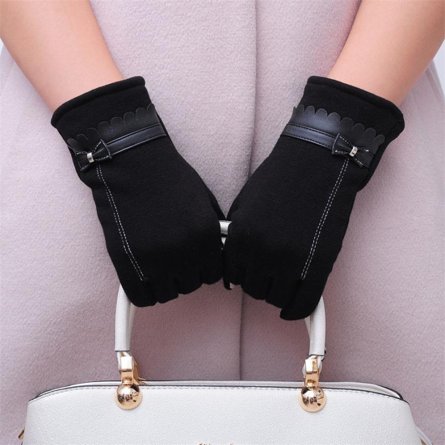 Free Ostrich Winter Warm Gloves 2018 Women Luxury Bowknot Mittens Elegant Lady Winter Gloves Solid PU Leather Gloves Women A3120