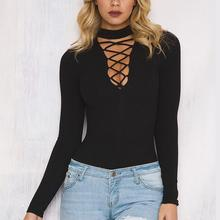 Sexy Choker High Neck bandage V Neck Long Sleeve Slim Hollow Oout Women Autumn cotton Bodysuits Play