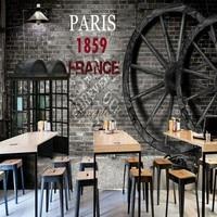 مخصص جدارية الحنين الرجعية قرميد جدار عجلة الهاتف بوث خلفية مطعم مقهى متجر جدارية