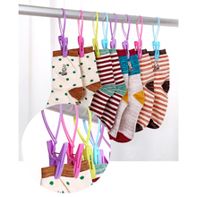 12pcs/Pack Portable Socks Dry Cloth Clip Travel Folding Hanger Clips Clothes Hats Bag Plastic Hooks