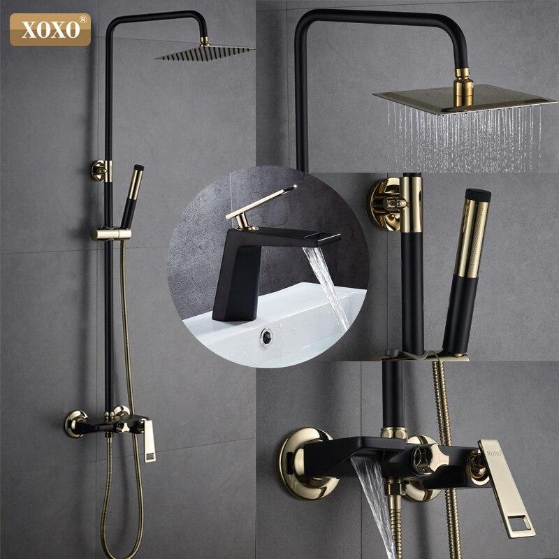 Aus Dem Ausland Importiert Xoxo Neue Schwarz + Gold überzogene Kupfer Bad Dusche Wasserhahn Bad Dusche Wasserhahn Set Dusche Wasserhahn Wasserfall Dusche Kopf Wand Mixer