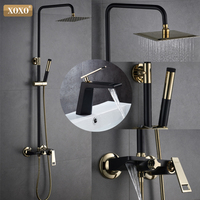 XOXO New black + gold plated copper bath shower faucet bathroom shower faucet set shower faucet waterfall shower head wall mixer