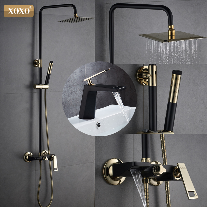 XOXO Nouveau noir + or plaqué cuivre robinet de douche ensemble de robinet de douche robinet de douche pomme de douche cascade mural mélangeur