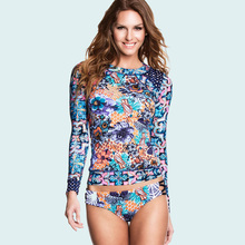 ba69609bc9 COOCLO Floral Print Sleeve Cropped Top Two Piece Women Swimsuit Bathing  Suit Long