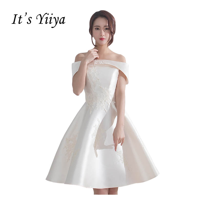 It's Yiiya Off Shoulder Sex Party Gown Prom Gowns Taffeta EmbroideryLace Up Knee Length Ball Gowns Simple   Cocktail     Dresses   X272