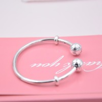 High Quality Sterling Silver 925 Open Bangle Charms Bracelets With Stoppers Sleek Fit Original Panqiou Bracelets