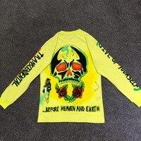 2019 Kanye West Merch Line Skull Printed Women Men Long Sleeve Fluorescent Green T shirts tees Hiphop Men Cotton T shirt Summer