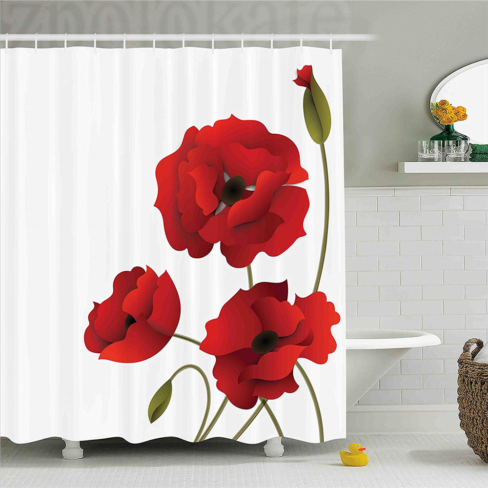 Floral Shower Curtain, Poppy Flowers Bright Petals with Buds Pastoral Purity Mother Eart ...