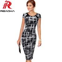 Frauen Arbeitskleidung Büro Dame Kleid 2017 Heißer Sommer Casual Vintage Frauen Schlank Geometrische Drucken Business Bleistift Kleider Vestidos