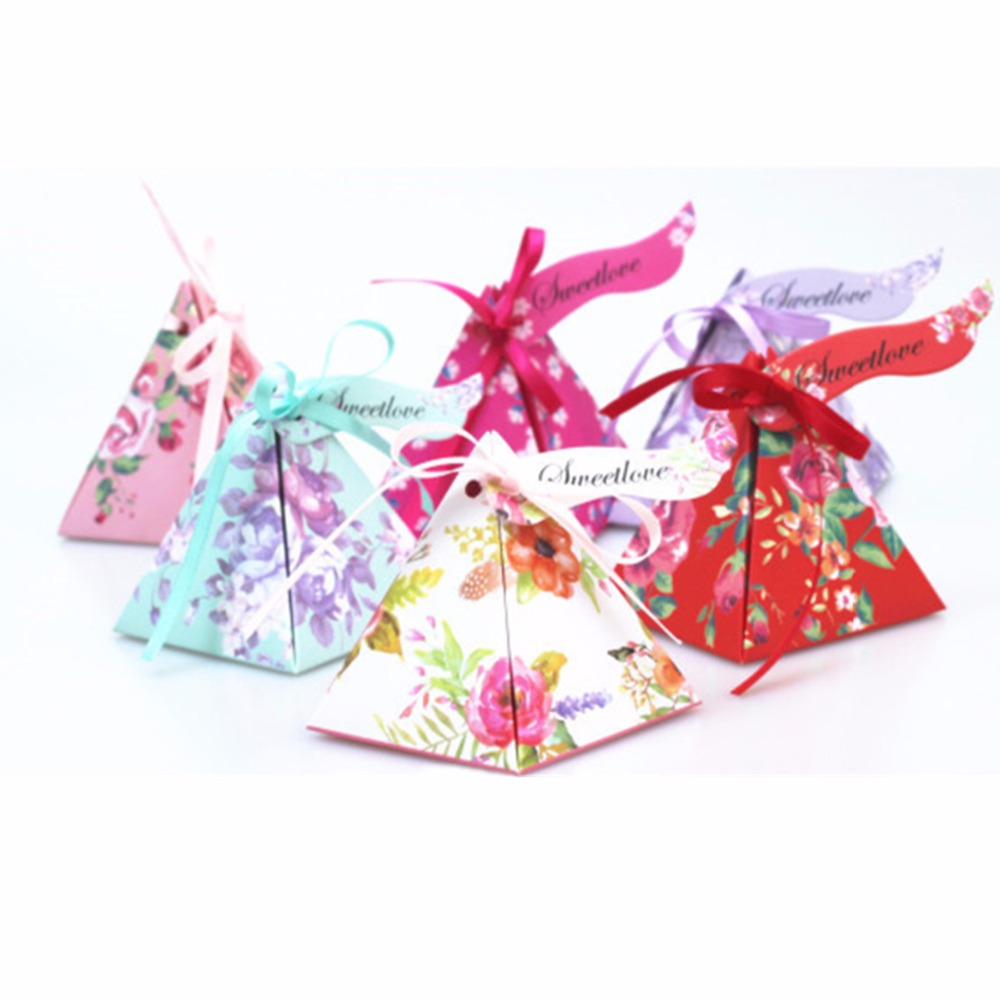 50pcs Triangles Flower Candy Chocolate Paper Gift Box For Wedding ...