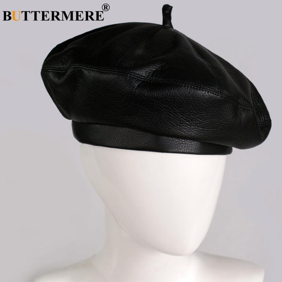 Features  Women French Beret Hats   Leather Painters Hat   Vintage Autumn  Berets cba20977bab