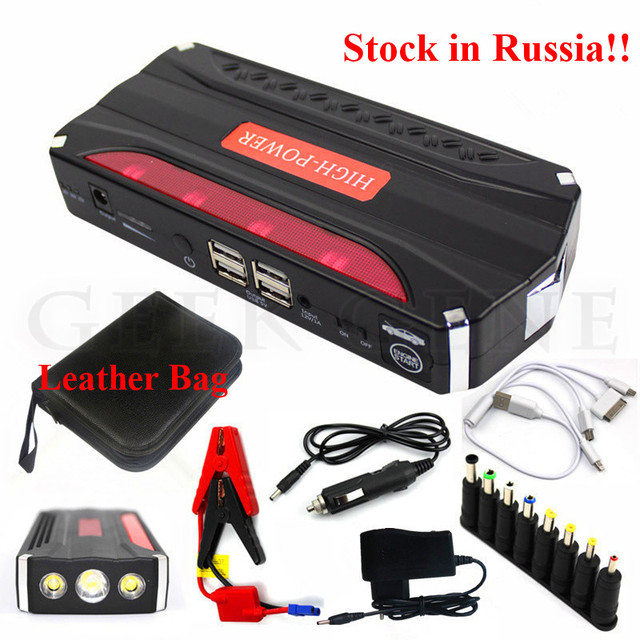 Stock In Russia! A+ Multi-Function 12V Diesel Petrol Car Jump Starter 600A Peak Car Charger 4USB Power Bank SOS Lights Free Ship
