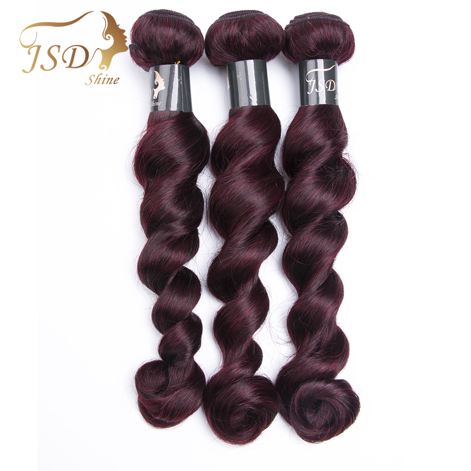 JSDShine Burgundy Brazilian Hair Weave Bundles Loose Wave Human Hair Extensions 99J Red Hair Bundles Non Remy Hair Thick Weft
