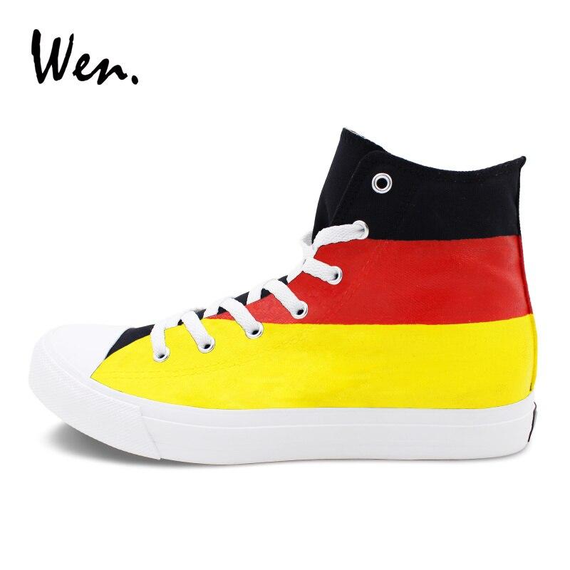 Vermelho Tiras Casuais Mão Alta Homens Preto À Vulcanize Amarelo Sneakers Pintados Com Wen Lona Ajuda Alemanha Bandeira Listras Sapatos Sapato Planas De UfwAga7q