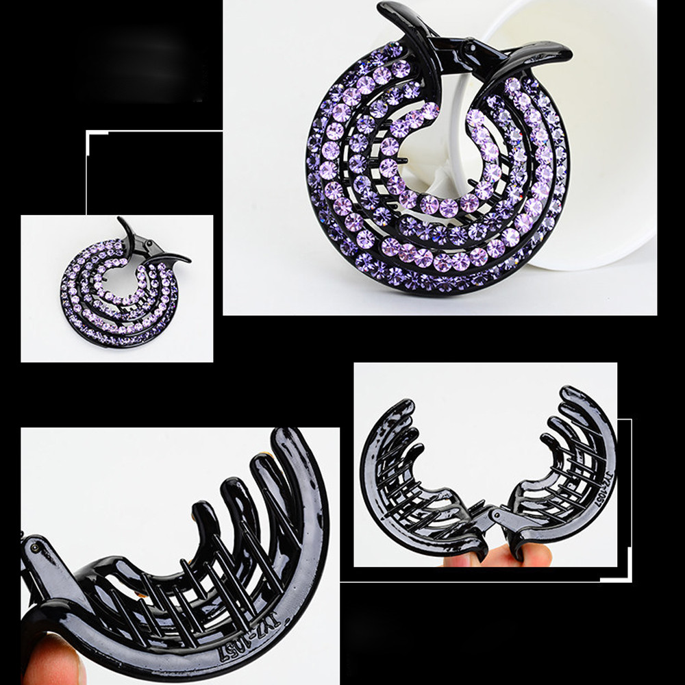 100% Top Quality Shining Hair Accessory Women Ladies Hair Clips Nest Rhinestone Hairpin Ponytail Bun Holder Accessory Wholesale
