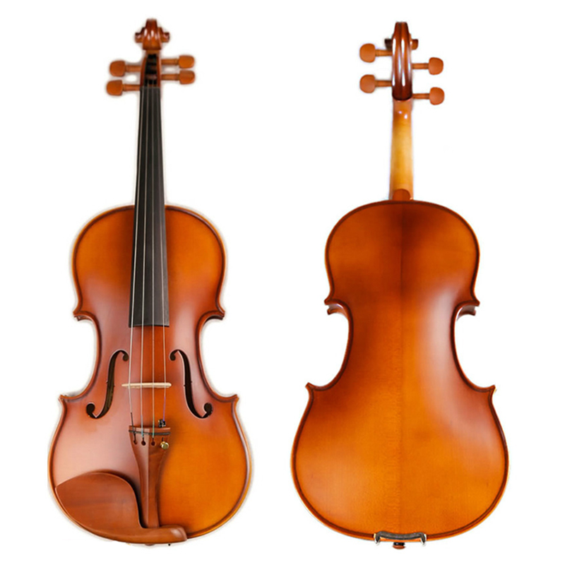 Matte Violin Natural Acoustic Solid Wood Pinus Bungeana Maple Violin 4/4 3/4 1/2 1/4 Fiddle Jujube Wood Parts with Case