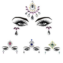 1Pc Adhesive Resin Face jewels Gems Temporary Tattoo Face Jewels Festival Party Body Gems Rhinestone Bindi Sticker Makeup Set(China)