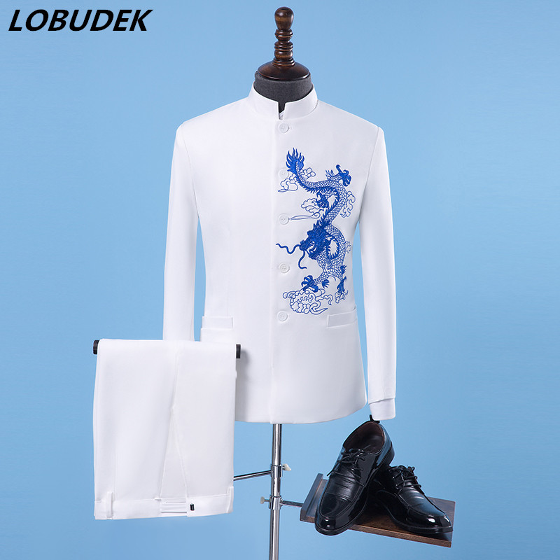 (jacket+pants) Men Suit Chinese Style Embroidery Sets Male Singer Team Chorus Stage Outfit Bar Host Wedding Groom Dress Costume