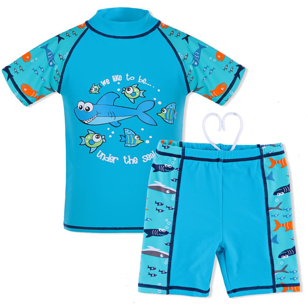 caf052be3fe47 BAOHULU Cartoon Shark 2Pcs Swimsuits Boys Baby Children Swimwear Short Rash  Guards UPF50+ UV Kids Girls Sunblock Beach Bathing Suit