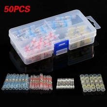 50pcs 16-14AWG Heat Shrink Waterproof Solder Seal Sleeves Connector Electrical Wire Terminals Connector Butt Crimp  Cable цена