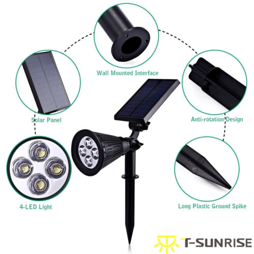 T SUNRISE 4 Pack Solar Holofotes Movido