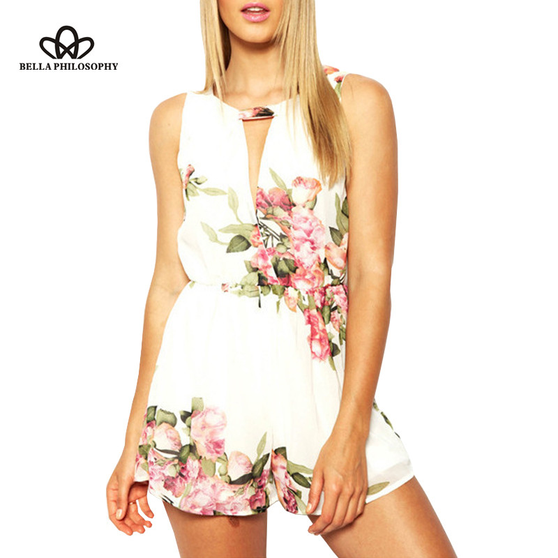 2020 summer new Womenswear wholesale flower print black white chiffon jumpsuit playsuits with hollow out chest real photo
