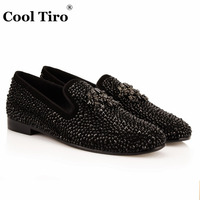 COOL TIRO New Men Flats Shoes Spring Hot Drilling Tassels Brand Adult Black Leather Men Loafers