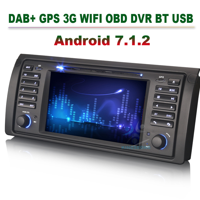 4-Core Android 7.1.2 Head Unit GPS Sat Nav Car DVD Player for BMW 5 Series E39 X5 E53 M5 3G DAB+ WIFI OBD CANBUS BLUETOOTH USB