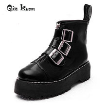 13c6e0fc826 Qin Kuan Women British Style Martin Boots Lady Belt Buckle Ankle Boots Girl  Zipper Platform Ankle