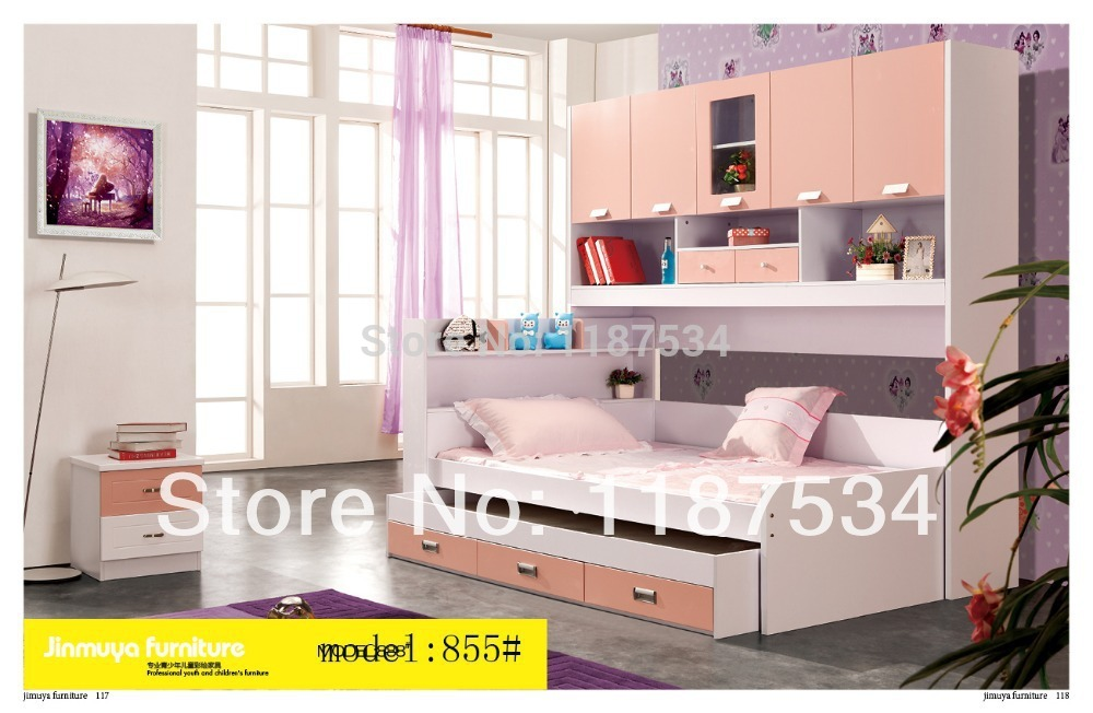 855 Children furniture sets chest garderobe armoire Wardrobe commode bed sets with bookcase mds89664h steel bedside commode