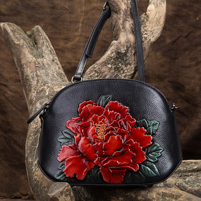 Women Genuine Leather Cross Body Handbag Peony Pattern Shell Small Embossed Tote Purse Chinese Style Messenger Shoulder Bag