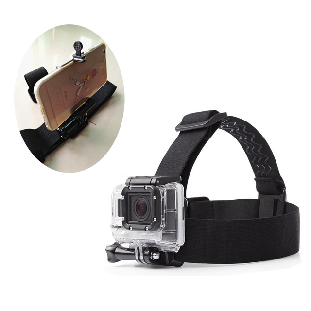 عمل الكاميرا الأسود شريط للرأس يتصاعد ل Gopro Hero4/3/2/1 Xiaoyi 4K SJCAM أندرويد الهاتف آيفون