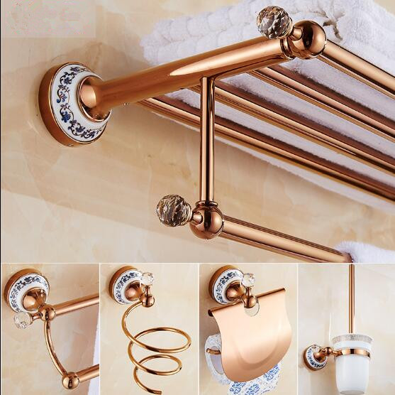 Brass Bathroom Accessories Set, Rose Gold Robe hook,Paper Holder,Towel Bar,Soap basket,Towel Rack bathroom Hardware set european towel rack paper holder hooks bath hardware set copper racks rose gold ceramic base bathroom hardware accessories ym6