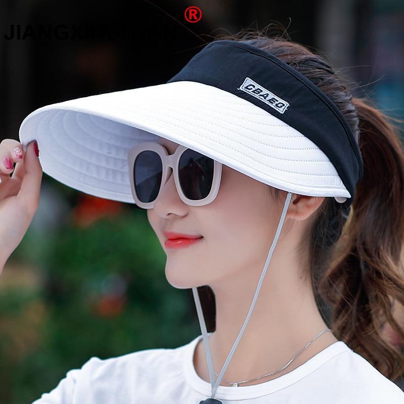 Wholesale 1PCS Women Summer Sun Hats Pearl Packable Sun Visor Hat With Big Heads Wide Brim Beach Hat UV Protection Female Cap