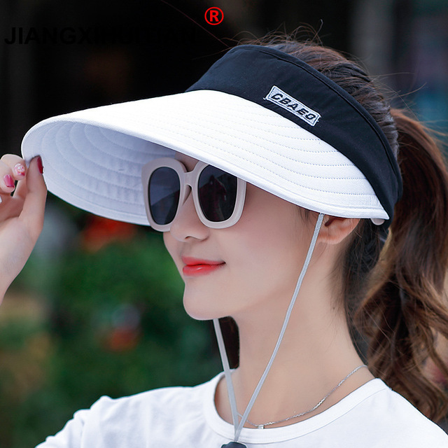 5c2f9456f US $3.6 10% OFF|wholesale 1PCS women summer Sun Hats pearl packable sun  visor hat with big heads wide brim beach hat UV protection female cap-in ...
