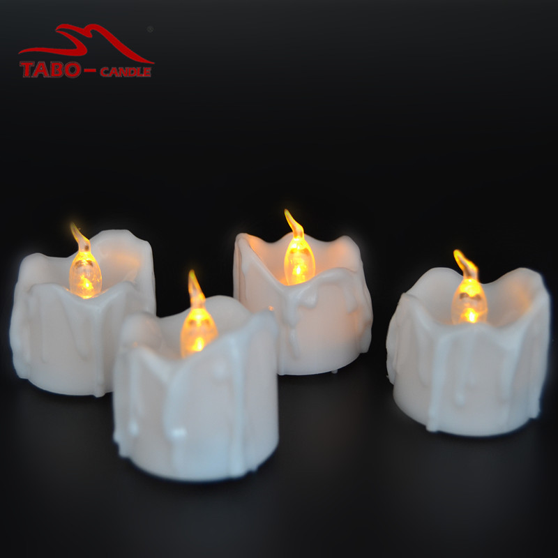 wax dripped battery operated led tealight candles long lasting flickering led tea light candles set of