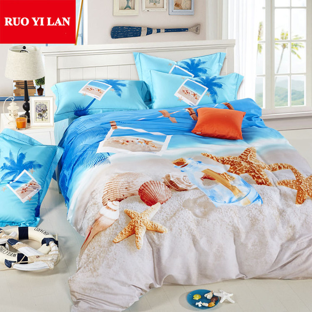 Queen King Size Bedding Set 4pcs Starfish Seass 100 Cotton Duvet Cover Bedclothes Bed