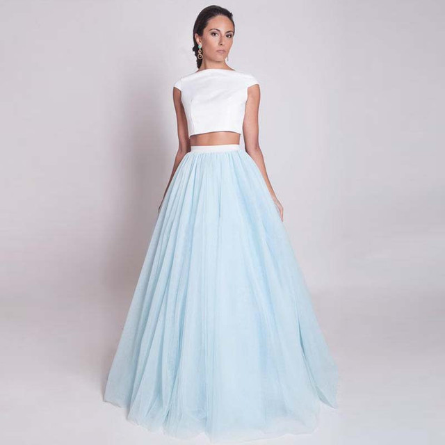 2d771afa55 Envío libre azul larga Faldas Maxi tulle falda nuevo elegante largo puffy Faldas  falda tul mujer