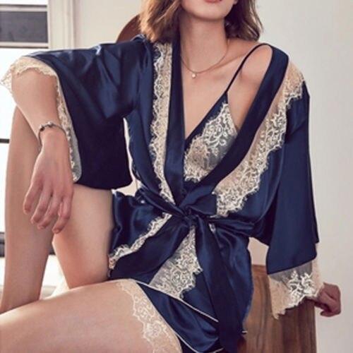 3Pcs Women Lingerie Sleep Set Lace Sleepwear Nightwear Babydoll Long Sleeve Nightgown Robe and Shorts Crop Tops Outfits Sets
