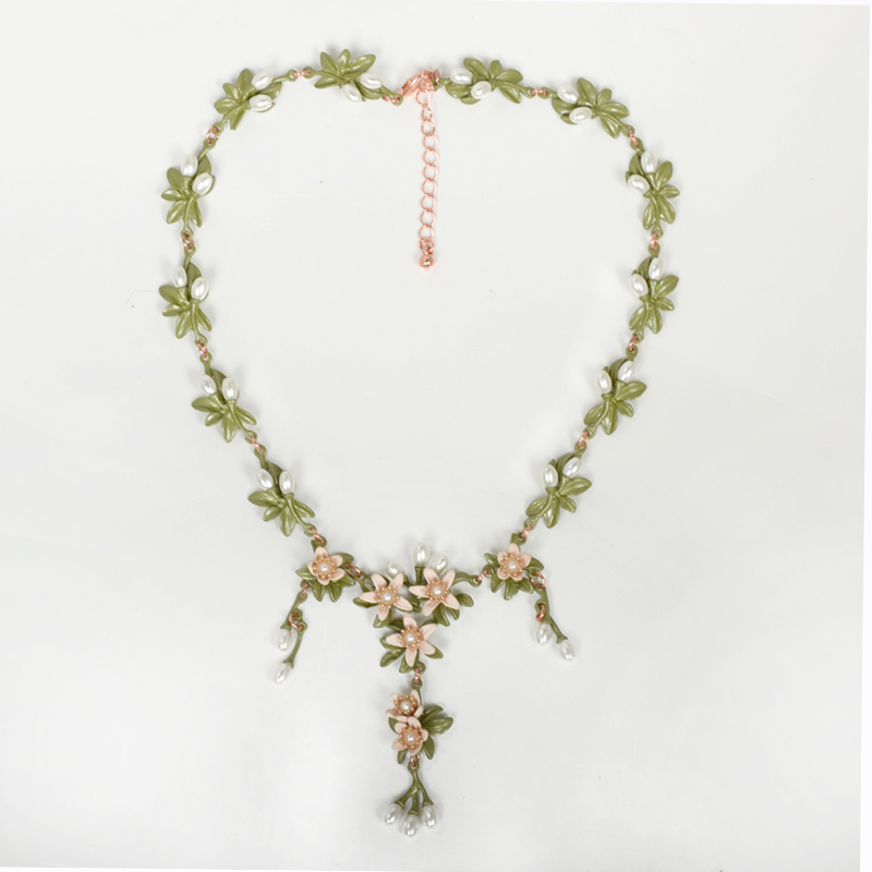 APY2017 New Fashion Vintage Simulated Pearl Jewelry Hollow Out Flower Rhinestones Short Necklace Metal Chain For Women Jewelry a suit of chic fake pearl rhinestone hollow out flower necklace and earrings for women page 6