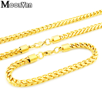 Moorvan Fashion gold color stainless steel men jewelry set Link chian,bracelet+necklace for boy,Free Shipping VJS010