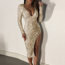 Sexy sequined dress V-neck high open banquet female shiny tight autumn long-sleeved long