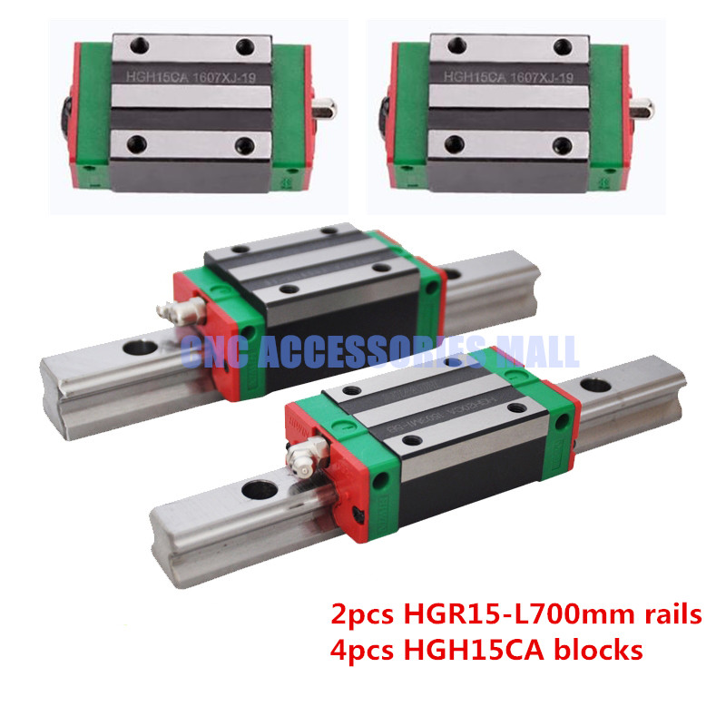 2pcs HIWIN Linear Guide rail HGR15 -L 700mm rail +4pcs HGH15CA carriage block free shipping to argentina 2 pcs hgr25 3000mm and hgw25c 4pcs hiwin from taiwan linear guide rail