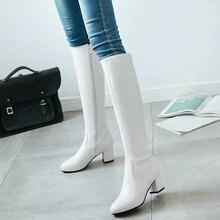 купить 2018 Fashion Zipper Knee High Boots Women Soft Pu Leather Thick High Heels Long Boots Autumn Winter Woman Shoes Size 34-43 по цене 1759.46 рублей