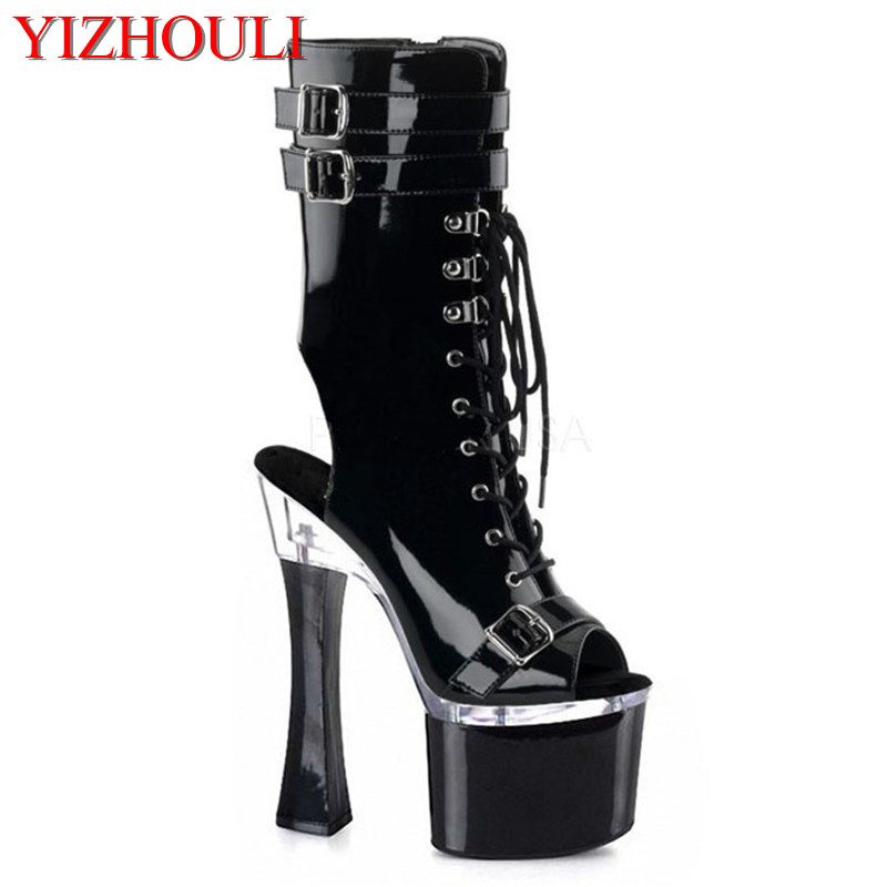 Professional customize 18 cm platform high-heeled Stiletto stage shoes fashion strap boots 8 inch black strappy ankle boots брюки borodina ksenia цвет черный page 1 page 3